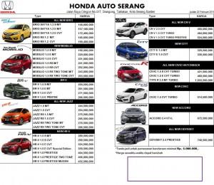 OTR  Mobil Honda Serang Banten 2019